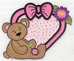Heart Teddy Applique embroidery design