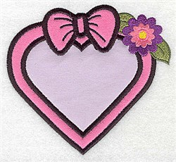 Framed heart with bow double applique embroidery design