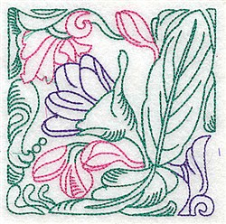 Floral Vine Outline embroidery design