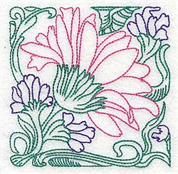 Flowers & Vine Outline embroidery design