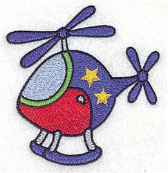 Helicopter with Stars embroidery design