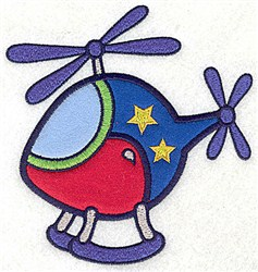 Helicopter with Stars Applique embroidery design