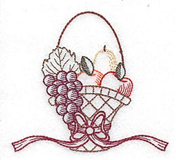 Fruit Basket Redwork embroidery design