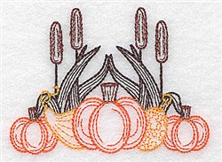 Gourds & Bulrush embroidery design