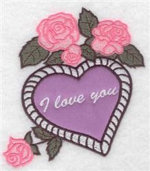 I Love You Applique embroidery design