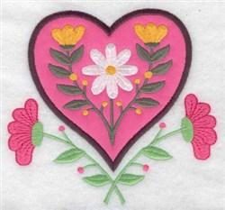 Floral Heart Applique embroidery design