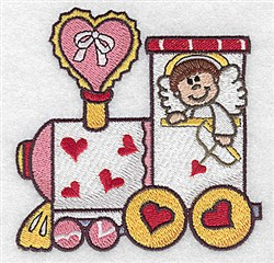 Train With Cupid embroidery design