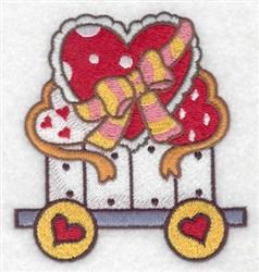 Hearts Train Car embroidery design