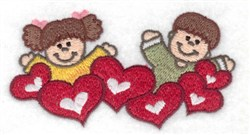 Children With Hearts embroidery design