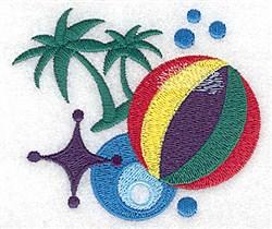 Beach Ball & Palms embroidery design