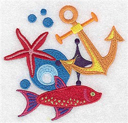 Anchor and Fish embroidery design