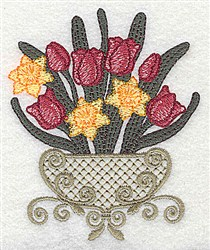 Tulip and Daffodil Bouquet embroidery design