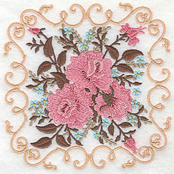 Victorian Rose Block embroidery design