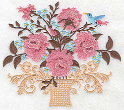 Vase Of Roses embroidery design