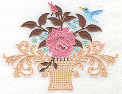 Bird And Roses embroidery design