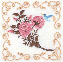 Roses And Bluebird embroidery design