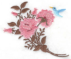 Roses With Bluebird embroidery design