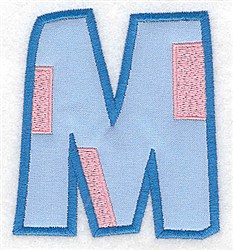 Applique Baby Alphabet M embroidery design