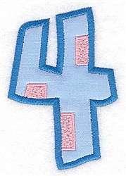 Applique Baby Number 4 embroidery design