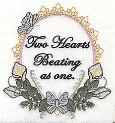 Two Hearts Frame embroidery design