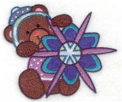 Teddy Bear Snowflake embroidery design