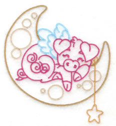 Pig Sleeping in Moon embroidery design