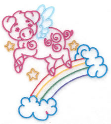 Pig Flying Over Rainbow embroidery design
