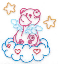Pig Sitting on Cloud embroidery design