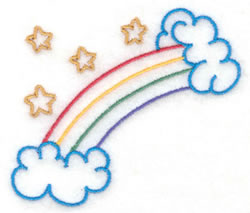 Rainbow and Stars embroidery design