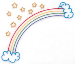 Rainbow and Stars Outline embroidery design