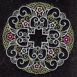 Floral Quilt Circle embroidery design