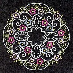 Elegant Round Floral embroidery design