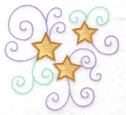 Trio Of Stars embroidery design