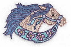 Floral Carousel Horse embroidery design