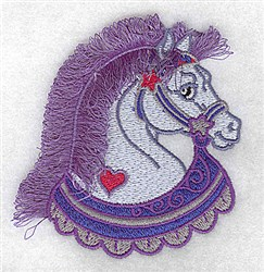 Fringed Heart Horse embroidery design