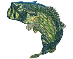 LARGE MOUTH BASS JUMPING embroidery design