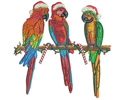 Christmas Parrots embroidery design