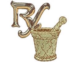 RX and Bowl embroidery design