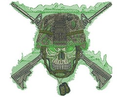 ARMY SKULL embroidery design