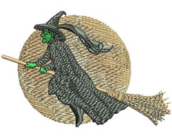 WITCH AND THE MOON embroidery design