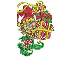 ELF WITH STACK OF GIFTS embroidery design