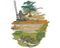 KAYAK FISHING embroidery design