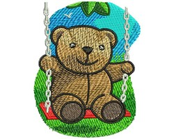 Swinging Teddy Bear embroidery design