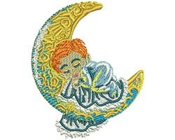 SLEEPING BABY MOON embroidery design