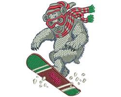 Snow Board Polar Bear embroidery design