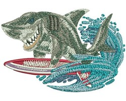 SHARK SURFING embroidery design