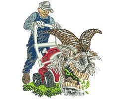 GOAT MOWER embroidery design