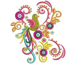 Swirl Bird embroidery design