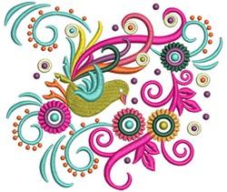 Swirly Bird embroidery design