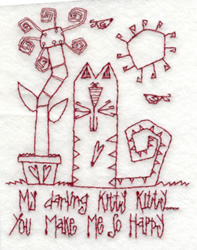 Kitty Makes Me Happy embroidery design